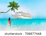 cruise ship caribbean vacation... | Shutterstock . vector #708877468