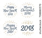 christmas greeting label label... | Shutterstock .eps vector #708880570
