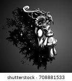 sad girl shaman hugging her... | Shutterstock .eps vector #708881533