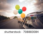 girl holds colorful balloons... | Shutterstock . vector #708883084