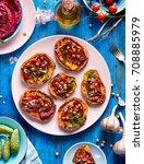 sweet potato toast with... | Shutterstock . vector #708885979