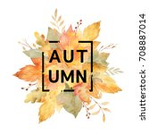 watercolor banner of leaves and ... | Shutterstock . vector #708887014