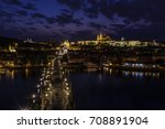 prague castle and charles... | Shutterstock . vector #708891904