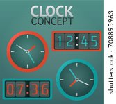 analog and digital clock concept | Shutterstock .eps vector #708895963