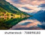 picturesque summer sunrise in... | Shutterstock . vector #708898183