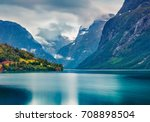 dark summer view of lovatnet... | Shutterstock . vector #708898504