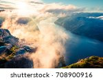 foggy morning view of popular... | Shutterstock . vector #708900916