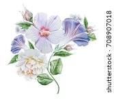 watercolor bouquet with flowers.... | Shutterstock . vector #708907018