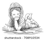 child girl writing in note book ... | Shutterstock .eps vector #708910534