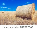 wheat field after harvest with... | Shutterstock . vector #708912568