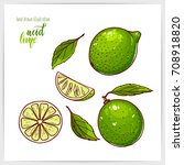 colorful set of ripe and tasty... | Shutterstock .eps vector #708918820