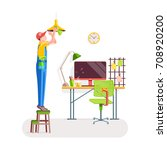 office cleaning. worker...   Shutterstock .eps vector #708920200