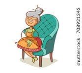cartoon grandmother sits on... | Shutterstock .eps vector #708921343