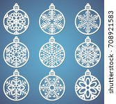 christmas balls set with a... | Shutterstock .eps vector #708921583
