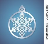 christmas ball with a snowflake ... | Shutterstock .eps vector #708921589
