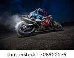 moto rider making a stunt on... | Shutterstock . vector #708922579