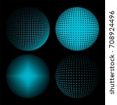 set of abstract round 3d blue... | Shutterstock . vector #708924496