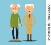 two elderly men standing... | Shutterstock .eps vector #708925300