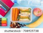 school lunch box with sandwich  ... | Shutterstock . vector #708925738