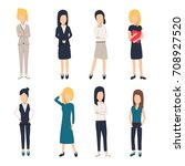 women in office clothes.... | Shutterstock .eps vector #708927520
