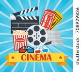 cinema concept poster template... | Shutterstock . vector #708929836