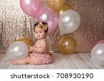 a one year old  baby girl... | Shutterstock . vector #708930190