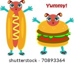 hamburger and hot dog characters | Shutterstock .eps vector #70893364