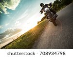 man riding sportster motorcycle ... | Shutterstock . vector #708934798