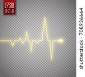 heart golden pulse isolated on... | Shutterstock .eps vector #708936664