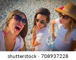group of girls laughing excited ... | Shutterstock . vector #708937228