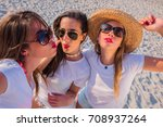 group of girls laughing excited ... | Shutterstock . vector #708937264