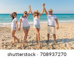 group of young boys enjoying on ... | Shutterstock . vector #708937270