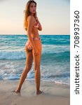 young blonde girl and sexy back ... | Shutterstock . vector #708937360