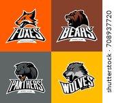 furious wolf  panther  bear ... | Shutterstock .eps vector #708937720