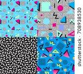 set of 4 abstract memphis... | Shutterstock .eps vector #708938530