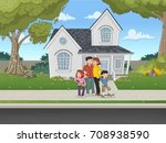 cartoon family in front of a... | Shutterstock .eps vector #708938590