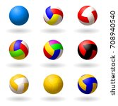 ball for volleyball.  set of... | Shutterstock .eps vector #708940540