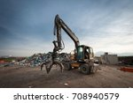 bulldozer with mechanical arm... | Shutterstock . vector #708940579