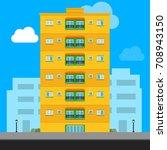 yellow apartment building ... | Shutterstock .eps vector #708943150