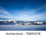 View from Kitzsteinhorn peak over the Kaprun and Zell Am See ski resorts - stock photo