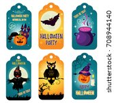 set of bright  halloween tags... | Shutterstock .eps vector #708944140