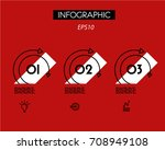 three red double linear ring... | Shutterstock .eps vector #708949108