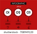 red linear infographic hexagons ... | Shutterstock .eps vector #708949120
