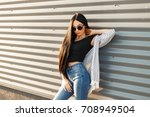 beautiful fashionable woman... | Shutterstock . vector #708949504