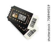 two cinema tickets with barcode ... | Shutterstock .eps vector #708949519