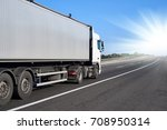 truck on road with container... | Shutterstock . vector #708950314