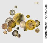 gold with mother of pearl balls....   Shutterstock .eps vector #708950938