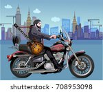 man on the motorbike | Shutterstock .eps vector #708953098