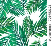 tropical palm leaves pattern.... | Shutterstock .eps vector #708953128