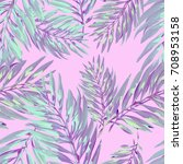 tropical palm leaves pattern.... | Shutterstock .eps vector #708953158